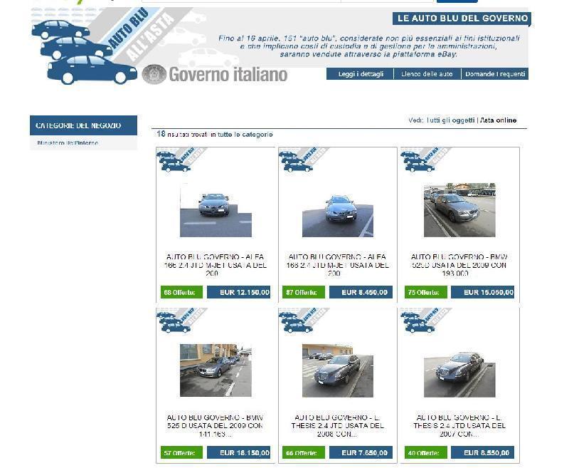 Le auto blu in vendita su eBay