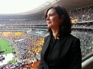Il presidente della Camera, Laura Boldrini ai funerali di Mandela
