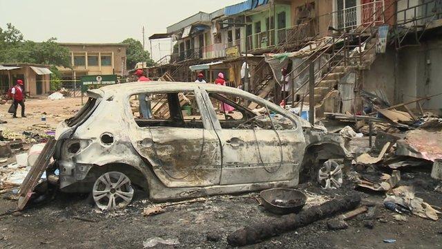 Il centro di Jos, dopo l'attacco