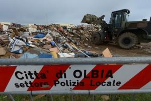 The rubbish tip area Isticaneddu in Olbia, Italy
