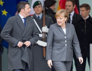 (ALLIANCE)- BERLINO : IL PREMIER MATTEO RENZI INCONTRO ANGELA MERKEL | New Italian Prime Minister Matteo Renzi is welcomed military honors by German Chancellor Angela Merkel (CDU) during his first official visit in front of the German Chancellery in Berlin, Germany, 17 March 2014. Renzi is accompanied by some ministers who are going to meet their ministerial colleagues during the German-Italian government consultations. Photo: Maurizio Gambarini/dpa - Infophoto