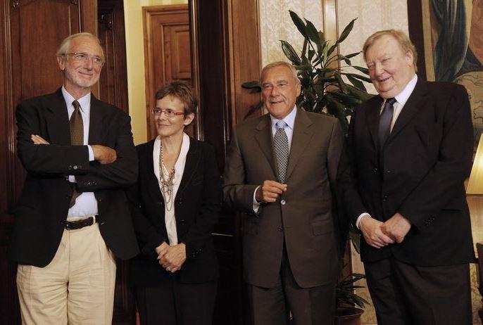 Renzo Piano, Elena Cattaneo e Carlo Rubbia con il presidente del Senato Pietro Grasso